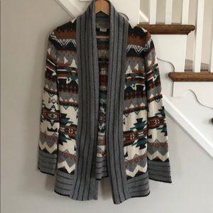 Ecote Aztec Print Cardigan Sweater Sz M JS